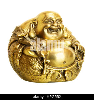 Statuette of Laughing Buddha isolated over the white background. Shallow DOF! - Stock Photo