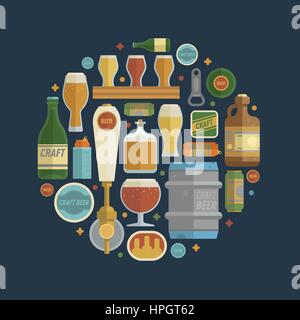 Craft beer items creative set in circle. Differens beer elements include bottles, glasses, keg, can and bottle opener - Stock Photo