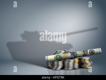 military budget concept, banknote with weapon shadow - Stock Photo