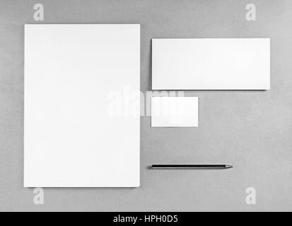 Blank stationery template for placing your design. Photo of blank stationery set. Blank letterhead, business cards, - Stock Photo