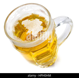Beer head  in the shaped of Belgium and a beer.(series) - Stock Photo