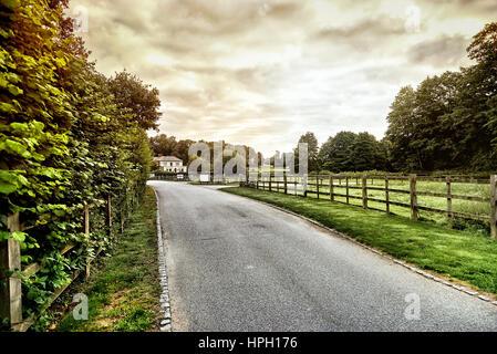 Beautiful English countryside. Stunning landscape over English countryside landscape in Summer sunrise. English - Stock Photo