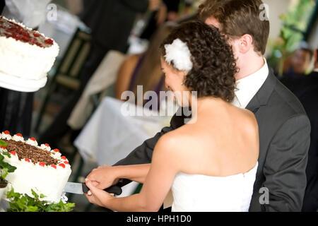 Model released , Brautpaar schneidet Hochzeitstorte an - bridal couple with wedding cake - Stock Photo