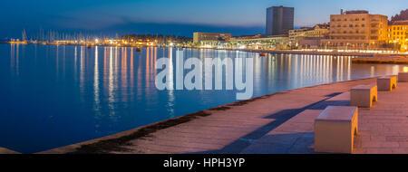 Panorama of west coast in town Split, popular promenade in Croatia, Europe. - Stock Photo