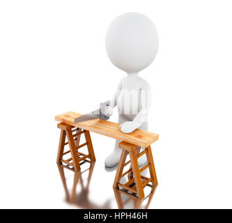 3d renderer image. White people carpenter cutting wood with a handsaw. Isolated white background. - Stock Photo