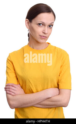 pretty woman in yellow t-shirt looking at camera. White background - Stock Photo