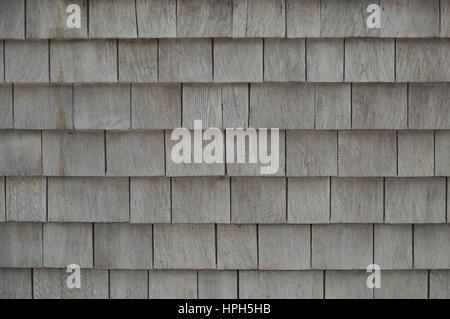 Neat. tidy. newer grey cedar shakes shingles background - Stock Photo