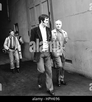 Arsenal forward George Graham (left) is seen with Liverpool manager Bill Shankly at Wembley Stadium, where the two - Stock Photo