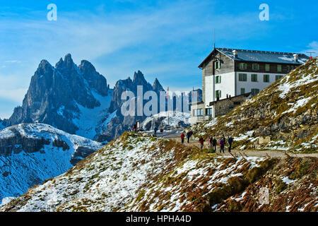 Mountain hut Rifugio Auronzo on the hiking trail of the Three Peaks Circular Walk, Sexten Dolomites, South Tyrol, - Stock Photo