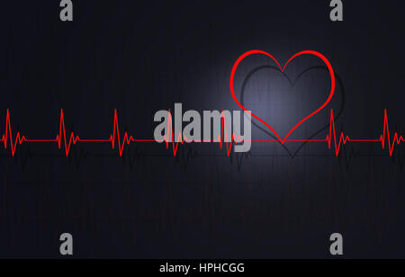 abstract medical illustration of heart normal pulsating - Stock Photo