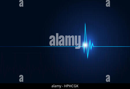illustration of heart pulsating abstract medical blue background - Stock Photo