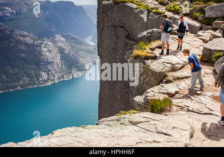 Trek to Preikestolen, near Preikestolen, Pulpit Rock, 600 meters over LyseFjord, Lyse Fjord, in Ryfylke district, - Stock Photo
