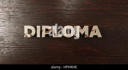 Diploma - grungy wooden headline on Maple  - 3D rendered royalty free stock image. This image can be used for an - Stock Photo