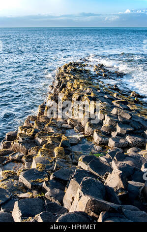 Giants Causeway geological formation in Antrim, Northern Ireland, in sunset light. - Stock Photo
