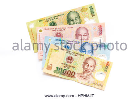 Vietnamese Dong currency, 10,000 dong, 20,000 dong, 50,000 dong, and 100,000 dong banknontes money - Stock Photo