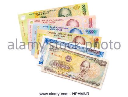 Vietnamese Dong currency, 1,000 dong, 5,000 dong, 10,000 dong, 20,000 dong, 50,000 dong, and 100,000 dong banknotes - Stock Photo