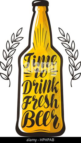 Bottle of beer, drink, brewery label. Lettering, calligraphy vector illustration. Design template for bar, pub or - Stock Photo