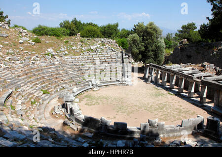 Turkey, province of Aydin, Gullubahce village, Priene archeological site, the theatre - Stock Photo