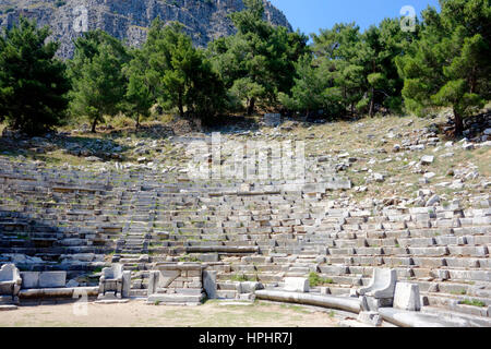 Turkey, province of Aydin, Gullubahce village, Priene archeological site, the theater - Stock Photo