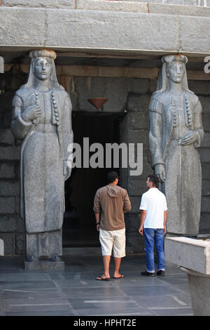 Montenegro,  Lovcen National Park, Statues (communist style) at the entrance of the mausoleum of Petar II in the - Stock Photo