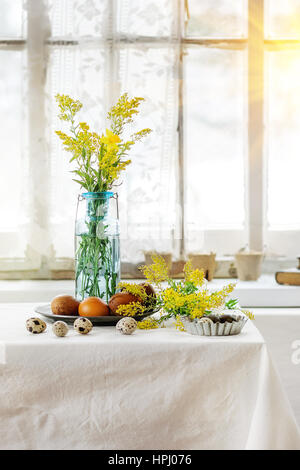 Easter decorated table - Stock Photo