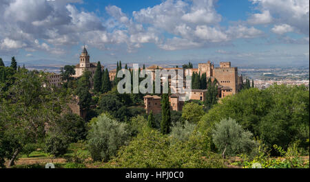 View of Alhambra from Generalife. Granada, Spain - Stock Photo
