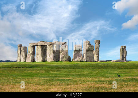 Amesbury, Wiltshire, United Kingdom - August 14, 2016: Stonehenge prehistoric megalith monument arranged in circle. - Stock Photo