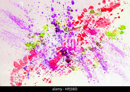 Abstract watercolor bright colorful background painting with spray, spots, splashes. Hand drawn on paper grain texture. - Stock Photo
