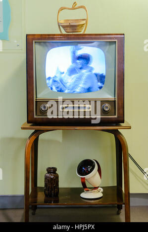 Black and white television in a living room from the 1950s. - Stock Photo