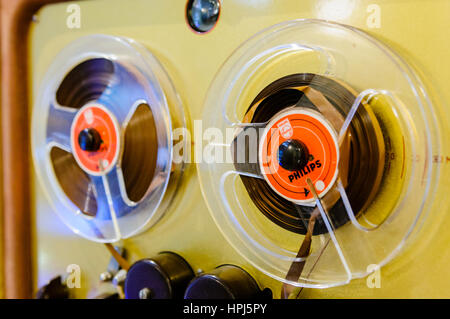 Old fashioned Philips Reel-to-Reel tape player. - Stock Photo