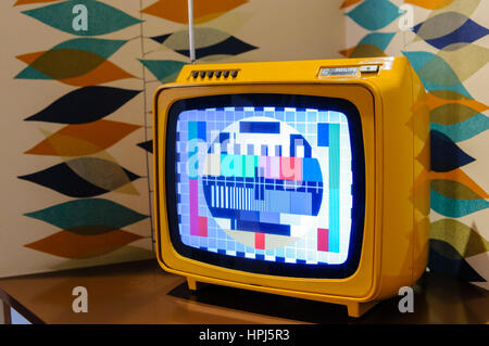 Old Philips colour CRT television from the 1960s. - Stock Photo