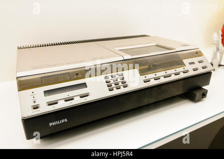 The first Philips VR2020 Video 2000 cassette tape player from 1979.  Production stopped in 1988. - Stock Photo