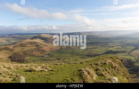 Lose Hill from Mam Tor, Edale, Peak District - Stock Photo