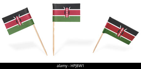 Small cocktail flags of Kenya in different positions isolated on white.(series) . Also easy to use as a design element - Stock Photo