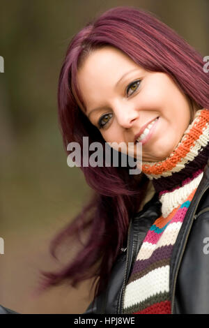 Model released , Rothaarige, froehliche Frau - red haired, lucky woman - Stock Photo