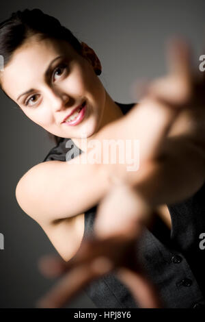 Model released , Attraktive Frau mit ausgestreckten Haenden - attractive woman with outstretched hands - Stock Photo