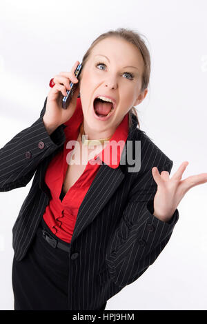 Model released , Schreiende Geschaeftsfrau mit Handy - Screaming business woman with mobile phone