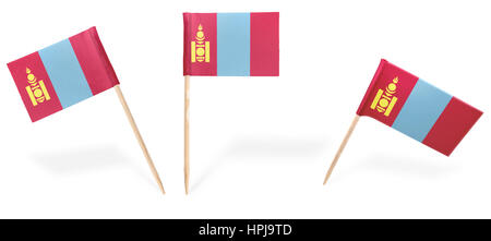Small cocktail flags of Mongolia in different positions isolated on white.(series) . Also easy to use as a design - Stock Photo