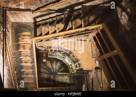 BOLOGNA, ITALY - FEBRUARY 08, 2017. Wooden steps inside Asinelli Tower. - Stock Photo