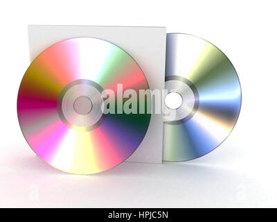 two CDs and a box on a white background. 3D illustration - Stock Photo
