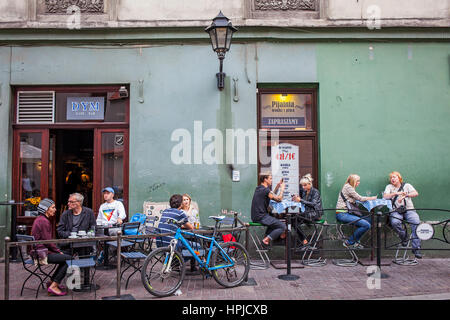 Outdoor terrace of DYM Cafe,Świętego Tomasza 13, Old Town, Krakow, Poland - Stock Photo
