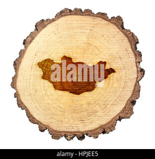 A slice of oak and the shape of Mongolia branded onto .(series) - Stock Photo
