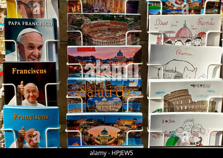 Postcards for sale on display on a rack, with Pope Francis I, the Vatican and Roman motifs. Rome, Italy, Europe - Stock Photo