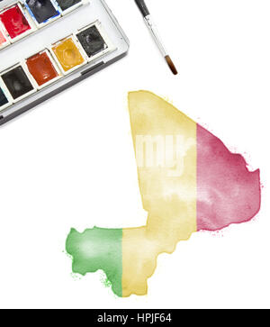 A watercolor painting of Mali in the national colors.(series) - Stock Photo