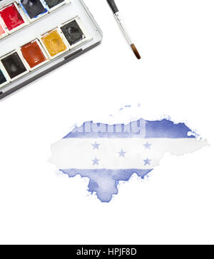 A watercolor painting of Honduras in the national colors.(series) - Stock Photo