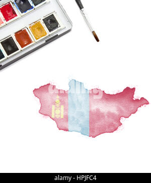 A watercolor painting of Mongolia in the national colors.(series) - Stock Photo