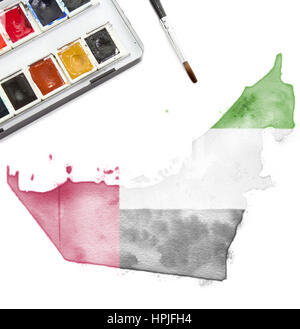 A watercolor painting of United Arab Emirates in the national colors.(series) - Stock Photo