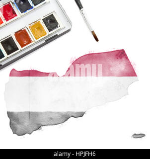 A watercolor painting of Yemen in the national colors.(series) - Stock Photo