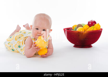 10 months old baby with fruit basket and fruits in its hands stock model released baby 10 monate mit obst baby with fruits stock negle Image collections