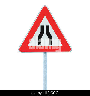 Road narrows ahead sign on pole post, vertical isolated closeup - Stock Photo